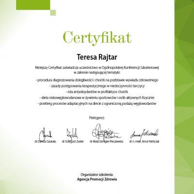 certyfikat-dietetyk-teresa-rajtar